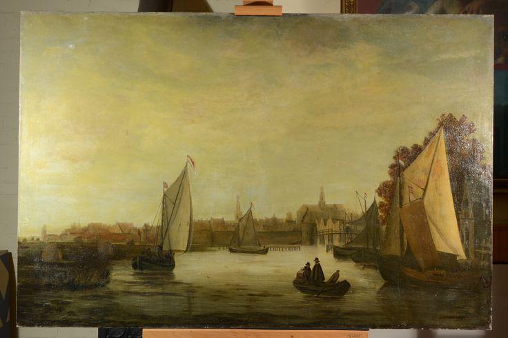 Gezicht op Haarlem - voor behandeling - Restauratieatelier Haarlem