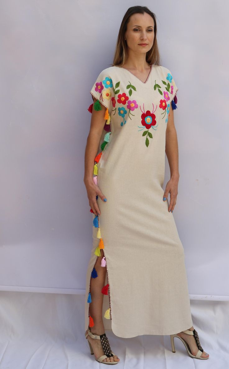 Multi floral tassels Embroidered Bohemian Linen Folk Embroidery Maxi Kaftan Dress Boho hippie. Sizes - XS-XXL 0027