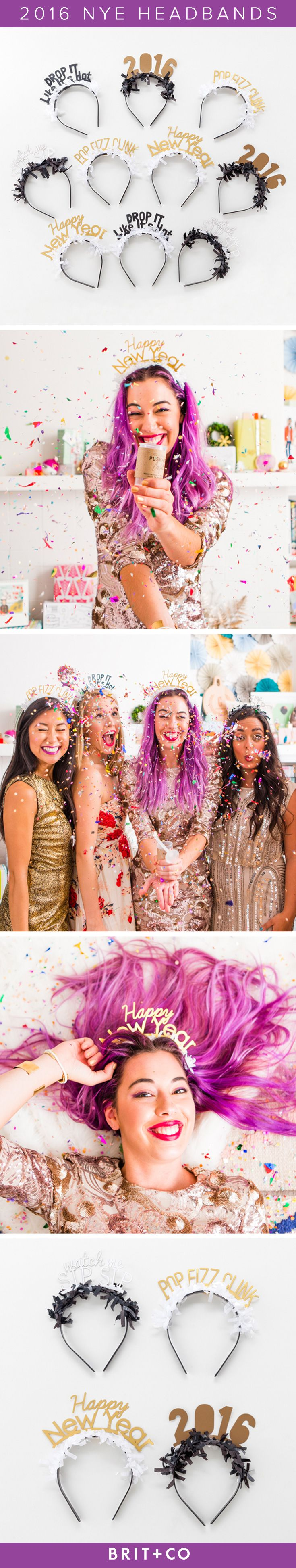 Say goodbye to 2015 + hello to 2016 in style with this NYE headband party pack. Watch the ball drop with friends + family as you celebrate the New Year while accessorizing with these gold, antique gold, black + white fringe headbands detailed with festive Happy New Year phrases.