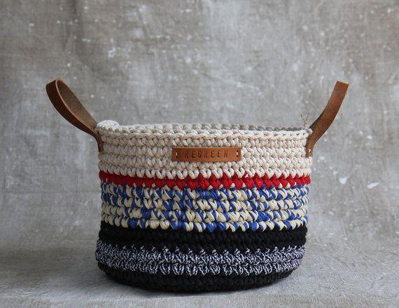 Handmade Crochet  Cotton Basket in cream/ navy by regreenyourlife