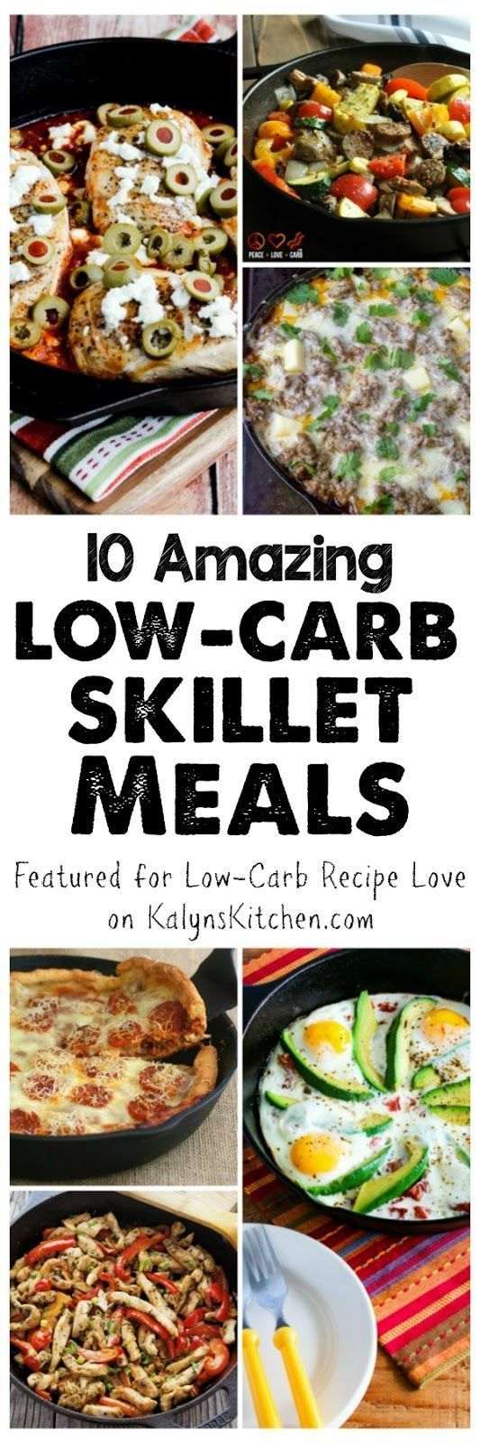 Ten Low-Carb Skillet Meals; some amazing ideas here for meals that only need one skillet and all these tasty meals are also Keto, low-glycemic, and gluten-free and most can be South Beach Diet friendly.  [featured for Low-Carb Recipe Love on http://KalynsKitchen.com]