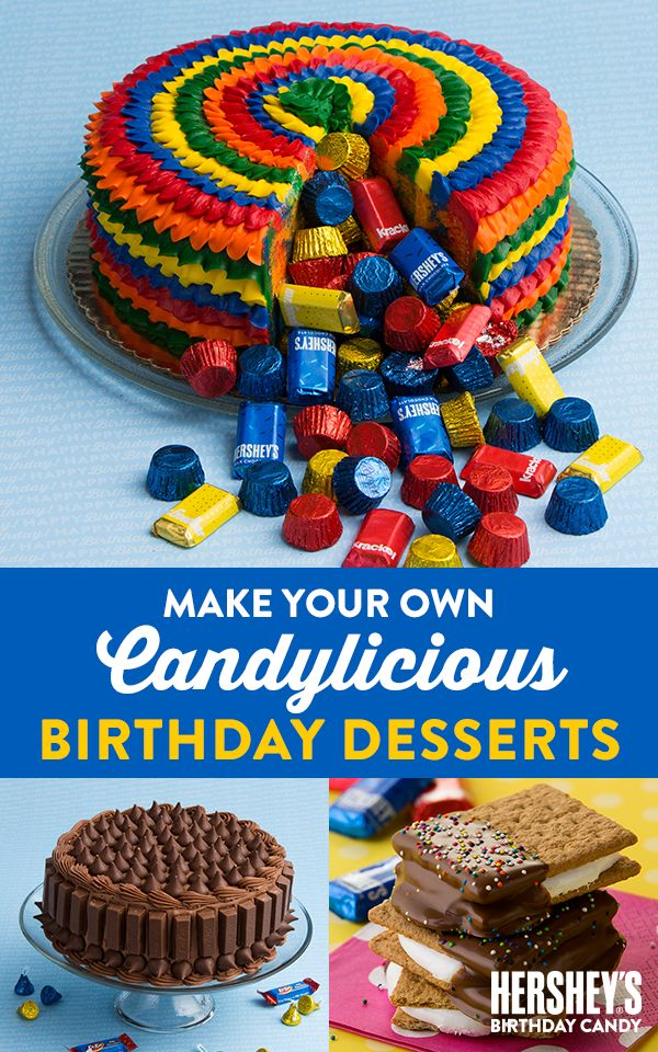 Make your child's birthday the sweetest party ever with these candylicious DIY birthday desserts. Steal the show with this adorable Piñata Cake—bursting with delicious HERSHEY'S Birthday treats! Grab Birthday KIT KAT® Miniatures and HERSHEY'S KISSES Chocolates to make an unforgettable Candylicious Cake. Summertime birthday? Then make it a celebration to remember with these oh-so-tasty Birthday S'Mores! Let's Birthday!