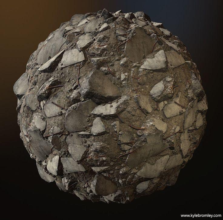 Concrete Rubble Tiling Texture, Kyle Bromley on ArtStation at https://www.artstation.com/artwork/concrete-rubble-tiled-texture