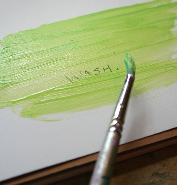 Washing You can treat acrylic somewhat like watercolor when you dilute the paint with enough water. You can use the watered down paint to apply translucent washes on your surface. However, unlike watercolor, the acrylic paint will set permanently. Mixing wash and dry brush methods can be very effective in creating a variety of textures in a single piece.