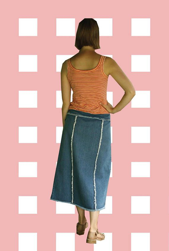 90s/00s Style Long Jean Skirt with Frayed Trim