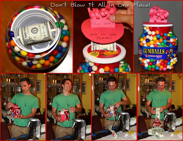 A fun and creative way to give money as a gift! Also bills inside helium/air filled balloons or coins inside of water balloons!