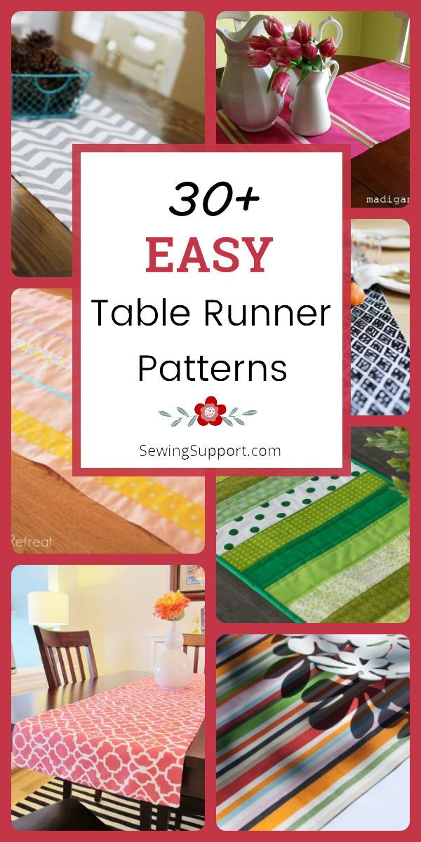 Over 30 Free & Easy Table Runner patterns, tutorials, and diy sewing projects. S…