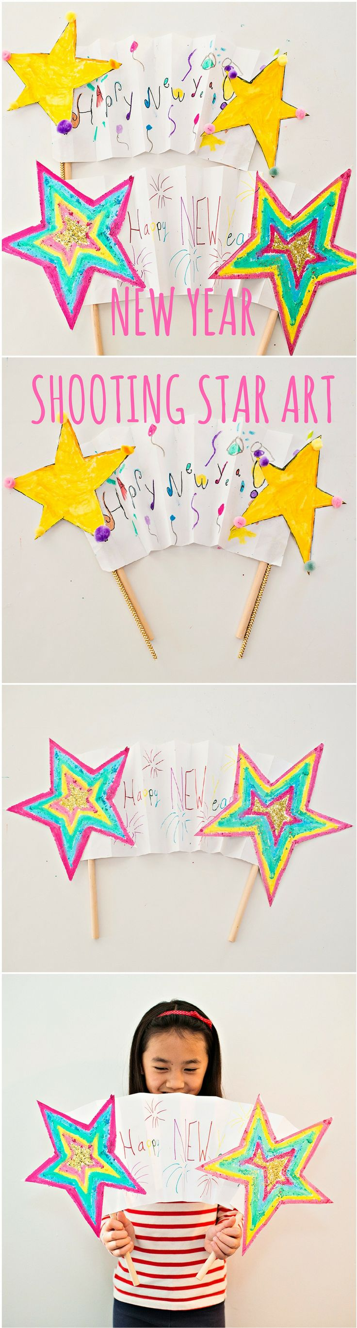 New Year Shooting Star Banner Art for Kids #newyearcrafts