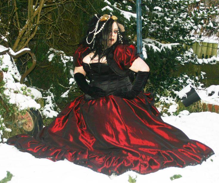Full frilled taffeta skirt, goth, gothic, steampunk, cosplay, renn, Victorian by NightshadesClothing on Etsy