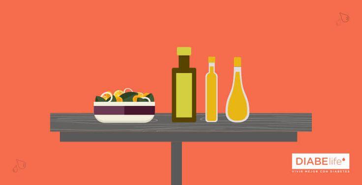 Para condimentar tus ensaladas usa pequeñas cantidades de aceites vegetales, preferentemente de oliva, colza o cardo.