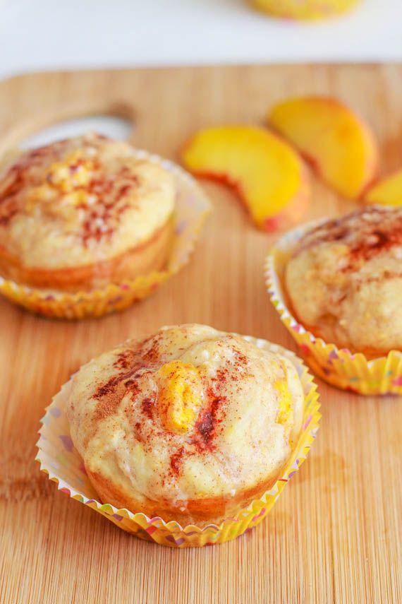 Peach Pie Muffins with Brown Butter Glaze