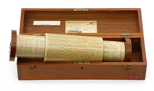 Slide Rule: A bracket could hold this rule at an angle for convenient operation
