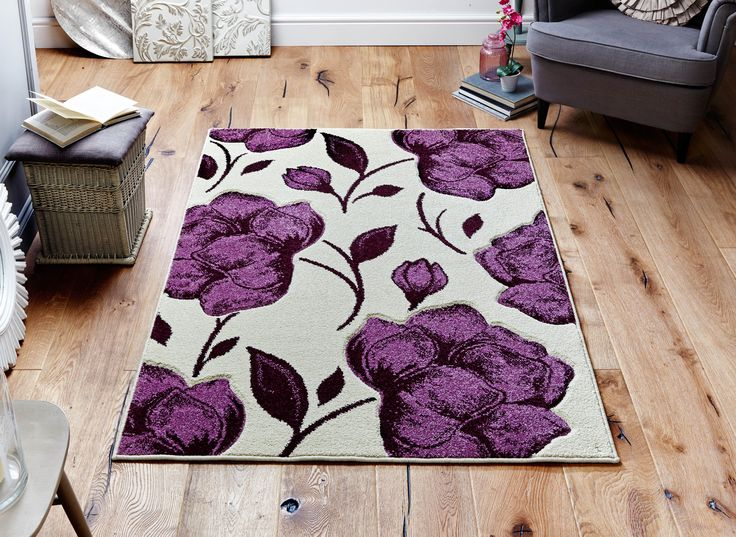 Bold & Larger than life floral design with impressive colour theme. _ Stylish & Trendy. #purplerugs  #floralrugs #largerugs