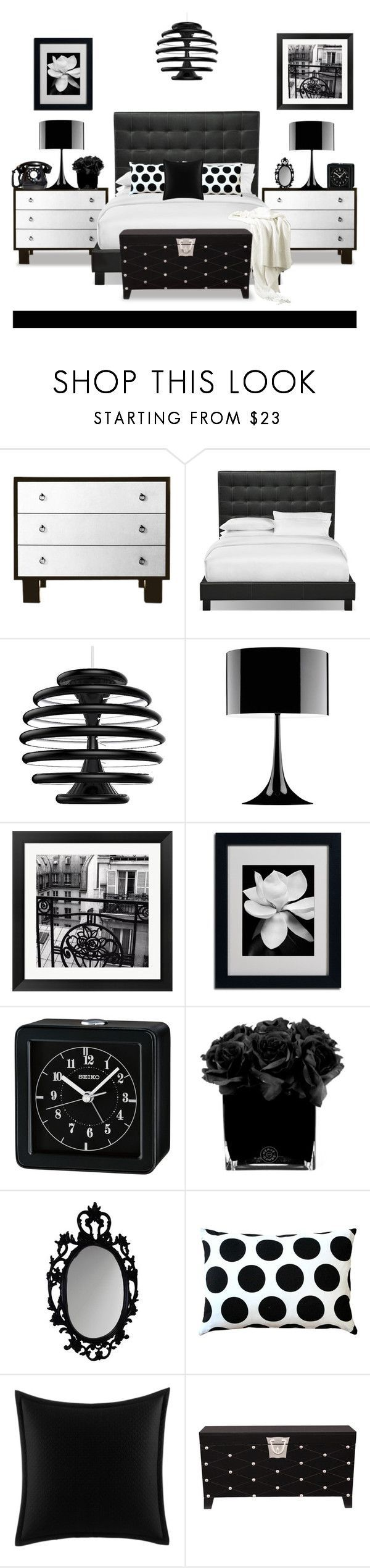 """""""Black and White Bedroom"""" by terry-tlc ❤ liked on Polyvore featuring interior, interiors, interior design, home, home decor, interior decorating, Ilomio, Flos, Evive Designs and Seiko Watches"""