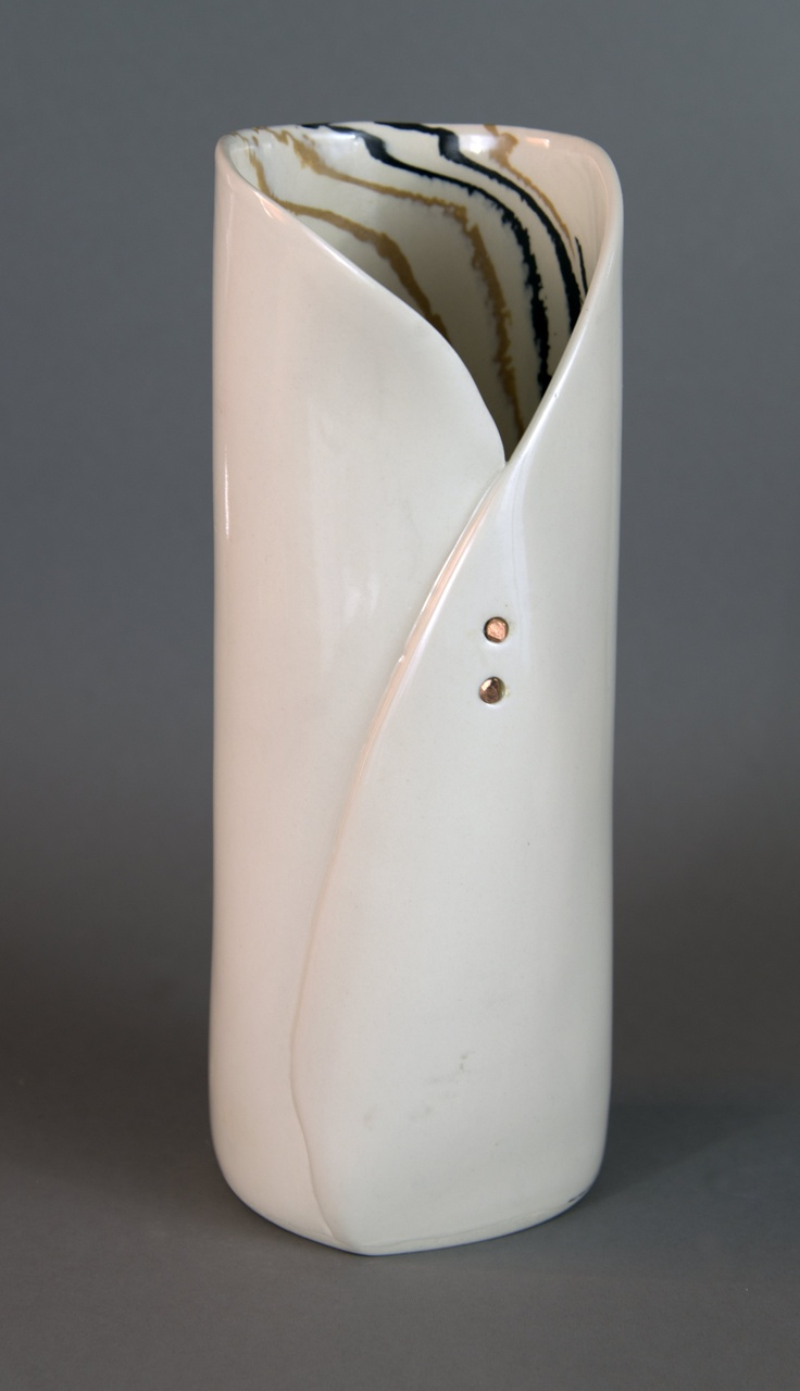 "Hand built vase of coloured clays with copper additions.  14"" high"