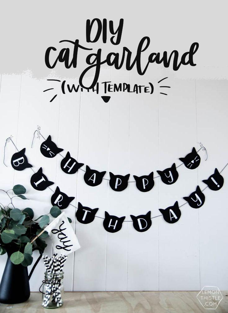 Diy cat banner cat birthday party decor diy birthday