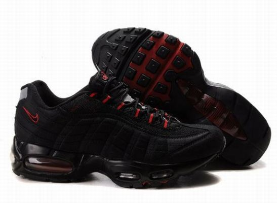 Nike Dames Air Max 95 Zwart Rood Trainers Groothandel OC77 ...
