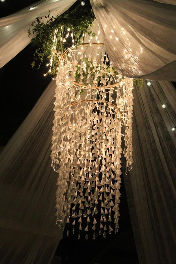 45 Romantic Wedding Light Ideas To Set The Mood Diy Chandelier Wedding Ceiling Decorations Wedding Ceiling