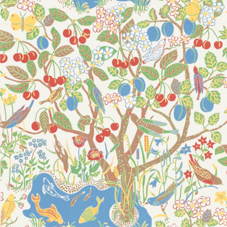"1947 wallpaper by Josef Frank ""Paradiset"" - had this on one wall in my kitchen and it was wonderful wintertime"