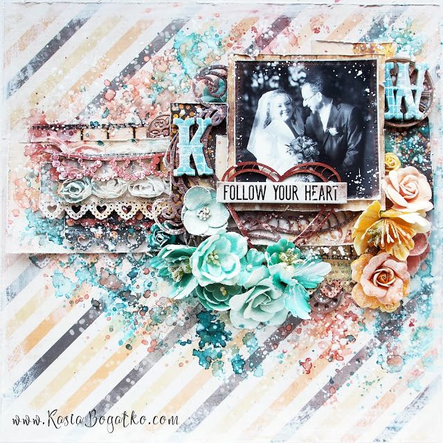Follow Your Heart - scrapbooking layout with video tutorial - by Kasia Bogatko