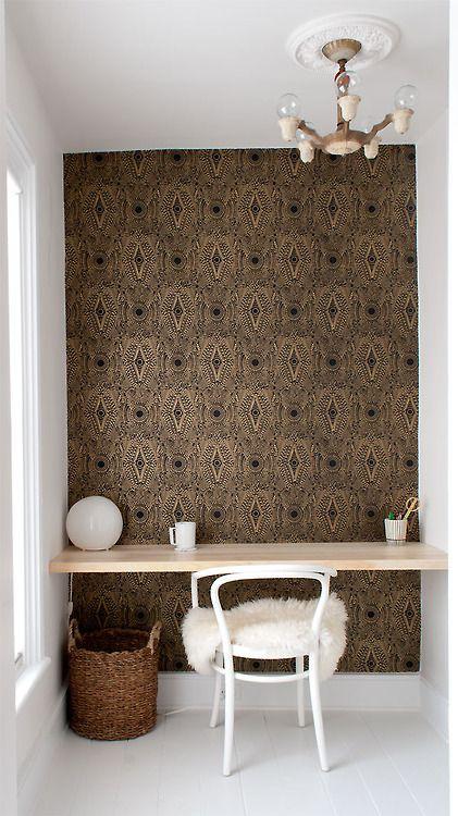 ... Diy Desk, Workspace, Home Office, Manhattan Nest, Wallpaper, Accent