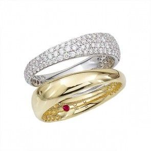 Roberto Coin 18kt Gold Scarlare Double Pave   Roberto Coin Scalare Two Tone Diamond   The two-toned ring features a sleek band of 18kt yellow gold that flows symmetrically next to a lush band of white gold that has been completely encrusted with vibrant white diamonds. A modern marvel, this Roberto Coin ring is a great addition to your jewelry collection.  For more product specifications please view the additional information tab below. $4,500.00