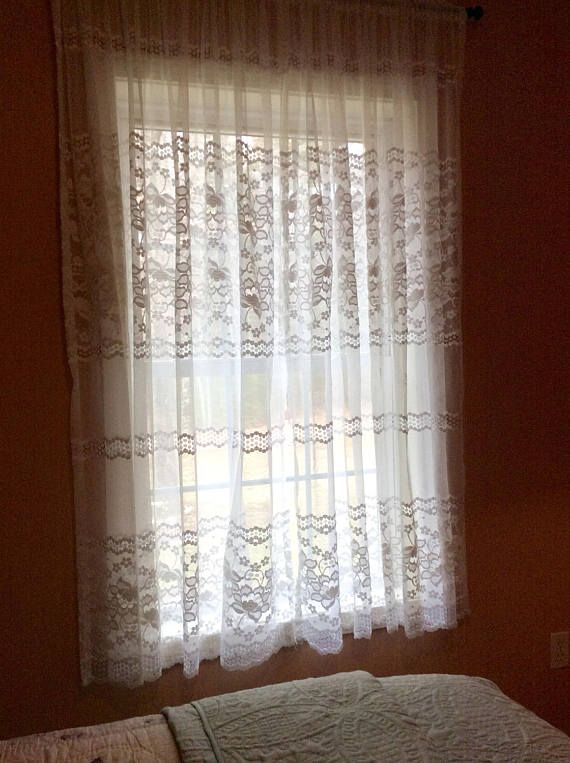 One Pair of Charming White Lace Curtains with Floral design