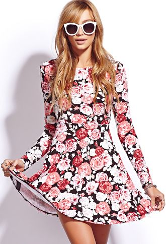 This dress is from Forever 21, it's from their fall collection. The background color is black and it's long sleeve, so it's ''winter appropriate'' but it still has floral print on it and it reminds me of spring so it can kind of transition into spring. It would also look really cute with a jean jacket and cardigan in the winter.