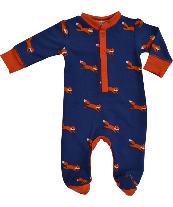 Baba Babywear cute footed bodysuit for babies with fox print. baba-babywear.en.emilea.be