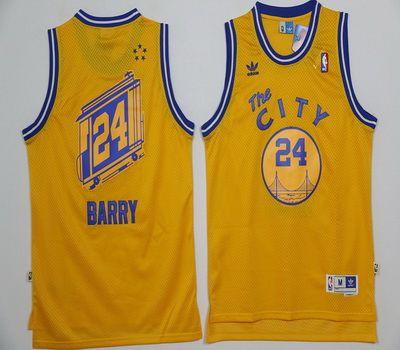 NBA Golden State Warriors 24 Rick Barry Yellow Throwback Basketball Jersey