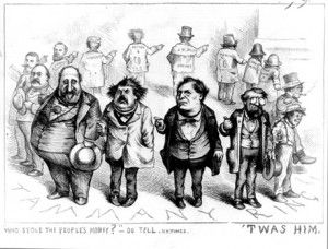 Boss Tweed, who often associated with railroad owners like Jay Gould and others involved in the gold scheme, is depicted here as the ringleader of conspirators. Elected to Congress, the Senate, and numerous boards and commissions during his career, Tweed headed a Democratic political machine at Tammany Hall that was guilty of numerous public fund abuses in the mid-19th century.