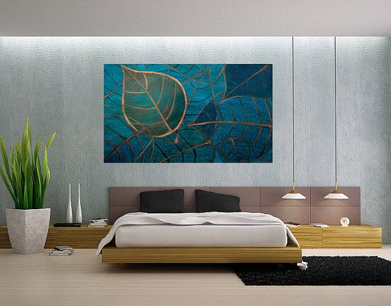 Blue Leaves by AndreeaOArt on Etsy