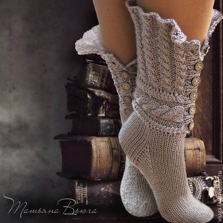 Купить Сказание. Носки вязаные, шерстяные носки, домашняя обувь. - бежевый…