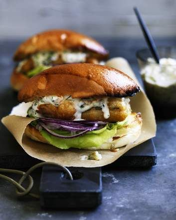 Adam Liaw's beer-battered fish sandwiches with crab tartare sauce.