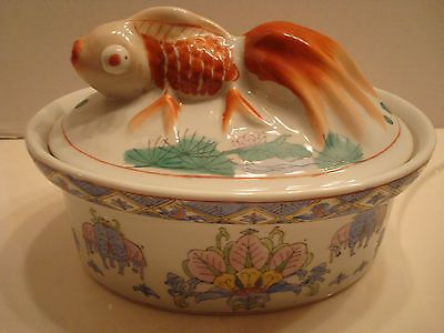 Antique Vintage Koi Goldfish Tureen Casserole Majolica Asian Dish Bowl Chinese