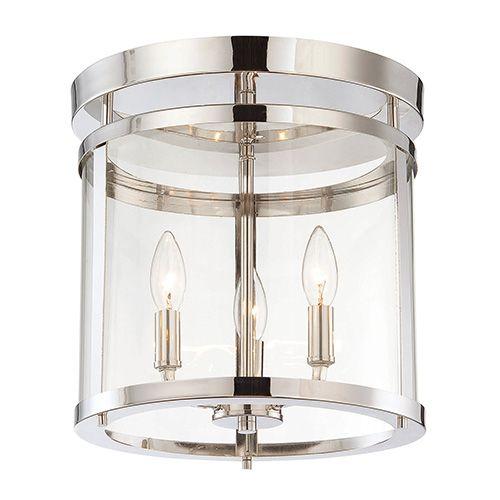 Penrose Chrome And Polished Nickel Three Light Semi Flush Savoy House Semi Flush Flush & S