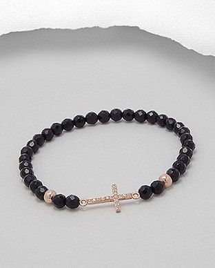 Black Onyx Beaded Bracelet with Rose Gold by SunshineNShowers, £15.00