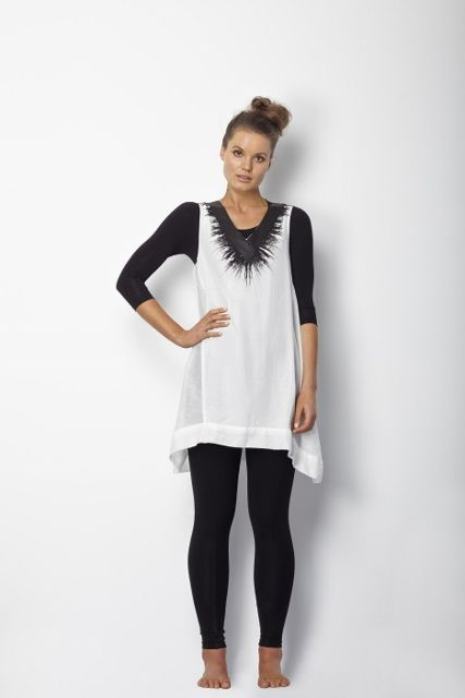 Stunning Zilah tunic from Sancerre with leather trim neckline, perfect with leggings and high ankle boots,