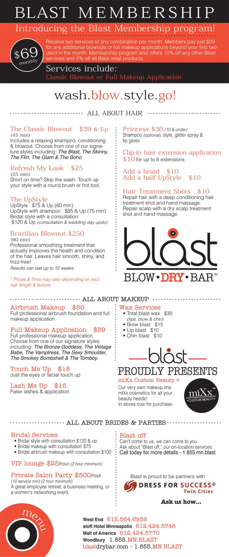 Blast Blow Dry Bar... Menu: Parties, Products, Promotions