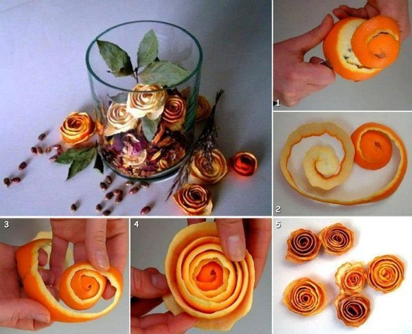 I found a video tutorial about how to make roses from orange peels. It's easy, all you need is an orange and a knife. Cut the orange peel carefully and then roll it into a flower. By the way, you can decorate your food with fresh peel roses, or let them dry for few days and decorate your apartment. Dry orange peel roses appear to be very pretty in candles vases too. How does it look ?