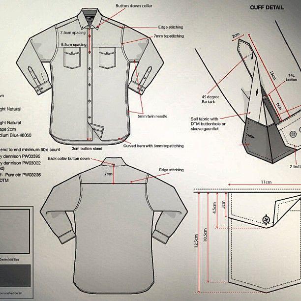 Dibujo plano de detalles de mangas y bolsillo de camisa masculina