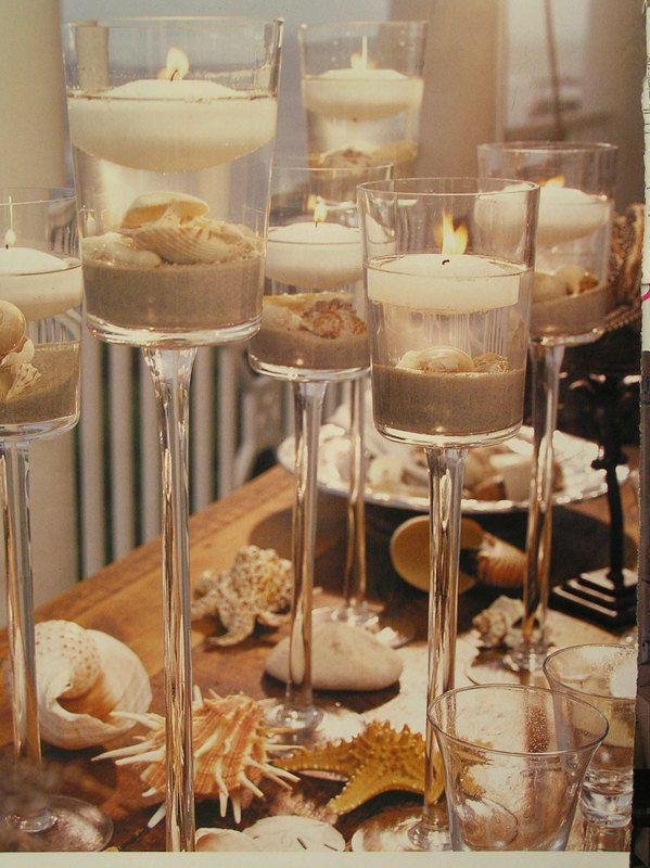 Centerpieces, Candles, Seashells, Sand, Table decoration, Candle holders