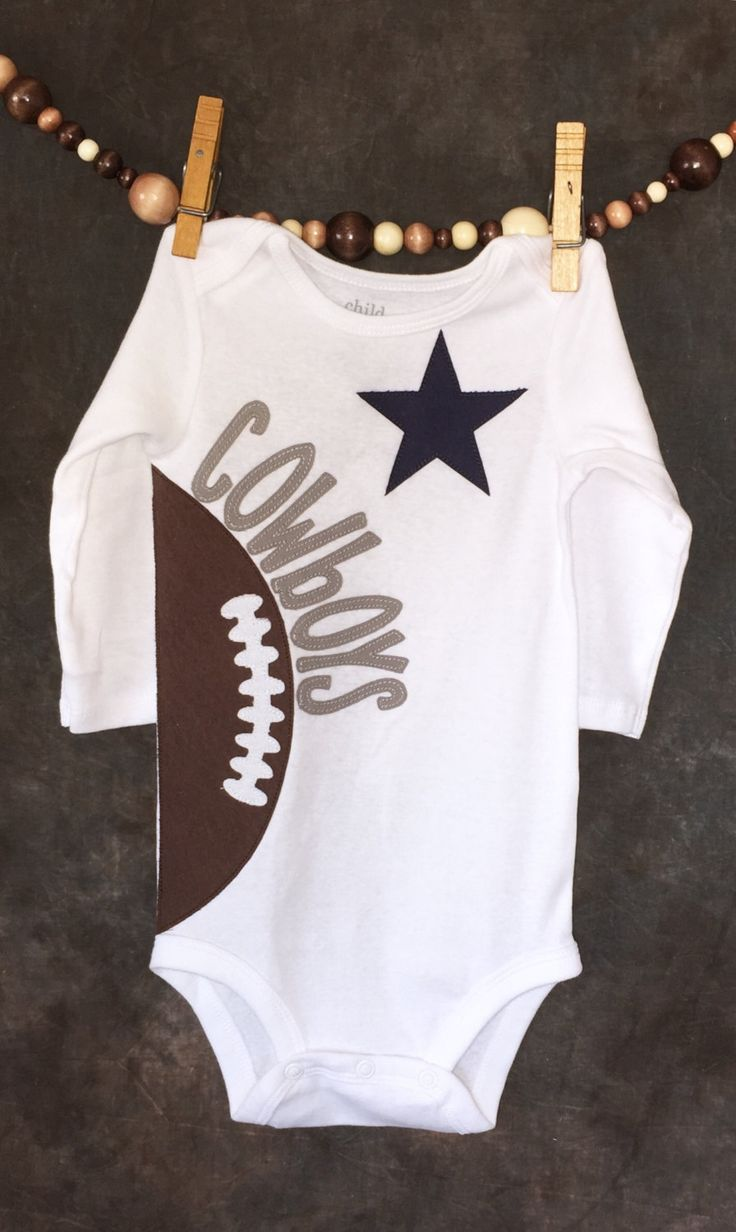 Personalized Dallas Cowboys NFL Team Football Onesie.   Size newborn - 18 months. by Loonybecks on Etsy https://www.etsy.com/listing/230180053/personalized-dallas-cowboys-nfl-team