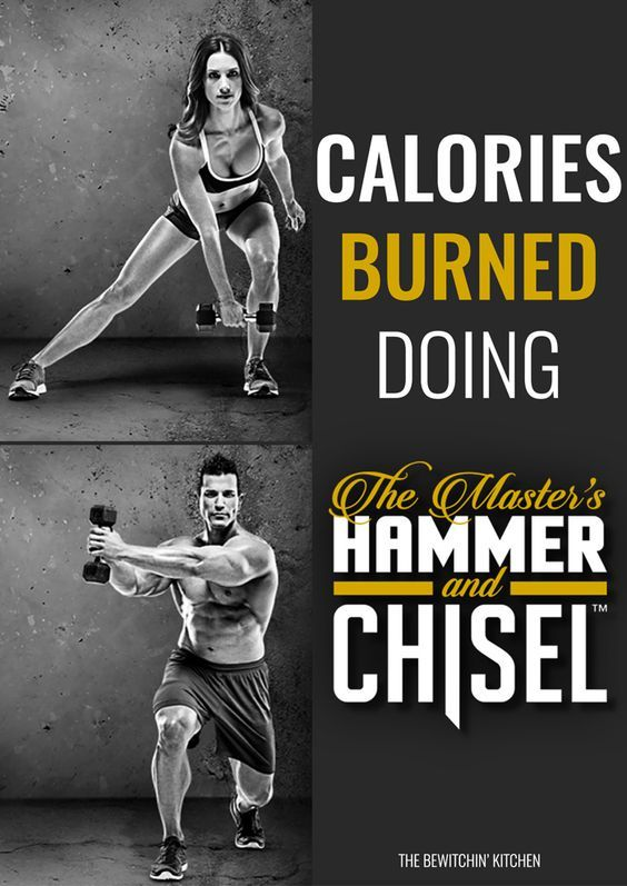 This blog tells you how many calories are burned doing The Master's Hammer and Chisel. She uses a heart rate monitor to calculate it. Hammer is Chisel is a Beachbody program from the trainers Sagi Kalev (Body Beast) and Autumn Calabrese (21 Day Fix and 21 Day Fix Extreme).