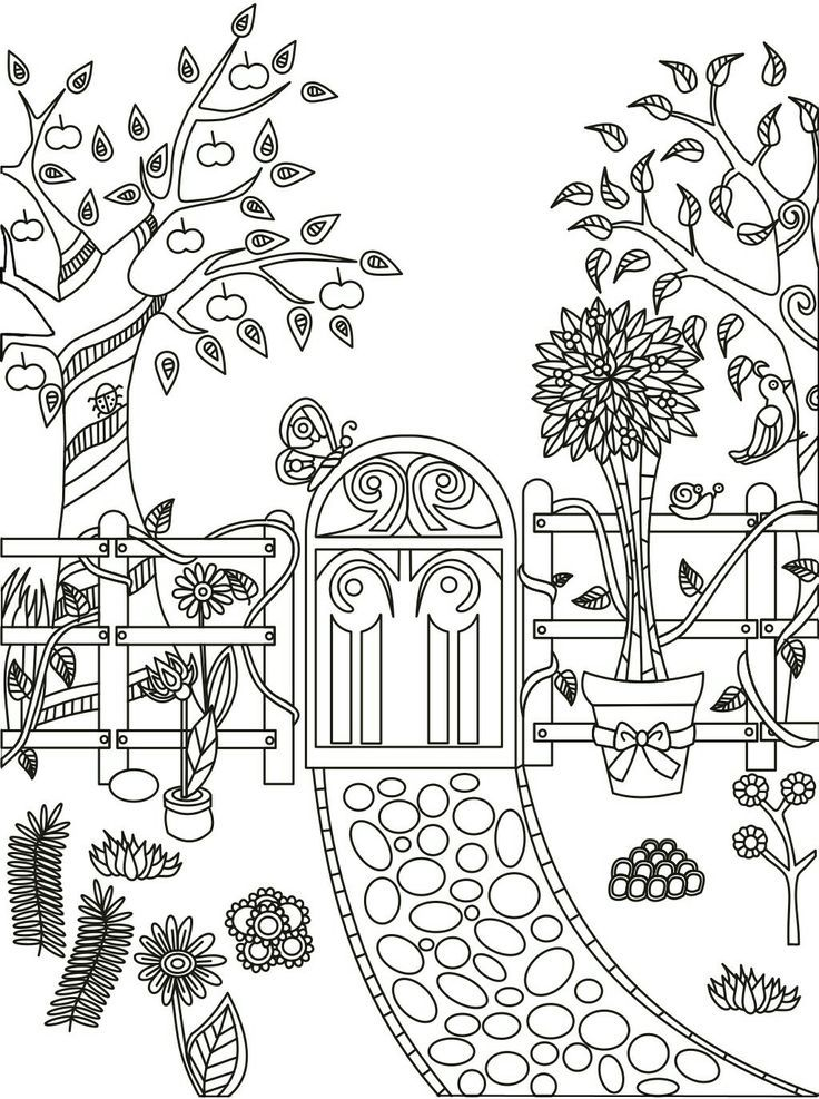 Coloring.rocks! Garden Coloring Pages, Secret Garden Coloring Book, Gardens  Coloring Book