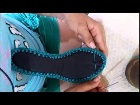 Sapatilha de crochê - video 1 - YouTube