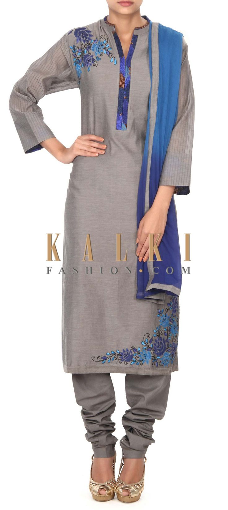 Buy this Grey straight suit adorn in applique embroidery only on Kalki