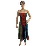"Women Bohemian Tie Dye Stripes Printed Spaghetti Smocked Waist Cotton Maxi Dress 48"" (Apparel)  #Dress"