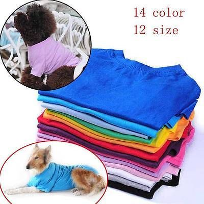 Pet Clothing Summer Small Large Big Dog Clothes Blank T-shirts Tee Shirts Cotton