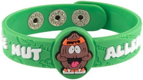 """AllerMates """"Nutso"""" Tree Nut Allergy Wristband (843852031606) Help identify and safeguard kids with allergies and give parents and caregivers some peace of mind Each colorful wristband is adjustable and sized especially for children * Hypo-allergenic (latex-free)"""